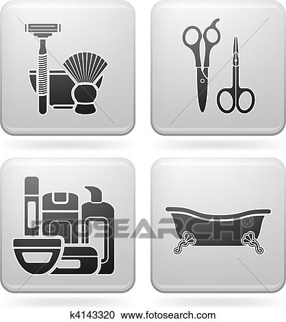clipart salle bains ustensiles k4143320 recherchez des clip arts des illustrations des. Black Bedroom Furniture Sets. Home Design Ideas