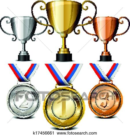 Clipart of medals and trophies k17456661 - Search Clip Art ...