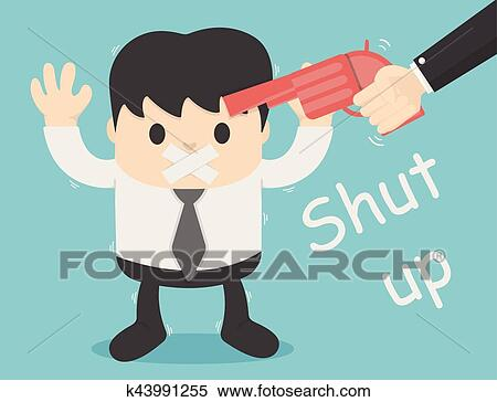 clipart of concept illustration forced silence shut up with guns rh fotosearch com clipart no talking No Loud Talking Sign