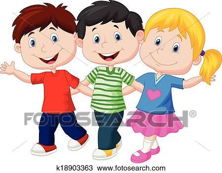 Clipart - feliz, niños jóvenes, caricatura k18903363 - Buscar Clip ...