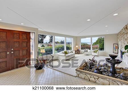 Immagini   soggiorno, con, fontana, in, lusso, casa k21100068 ...