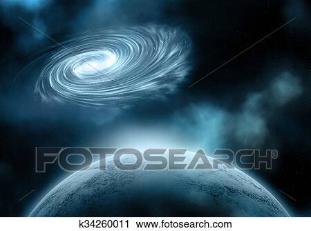 剪贴画 - 夜晚天空, 带, 虚构, 行星, 同时,, 星系.图片