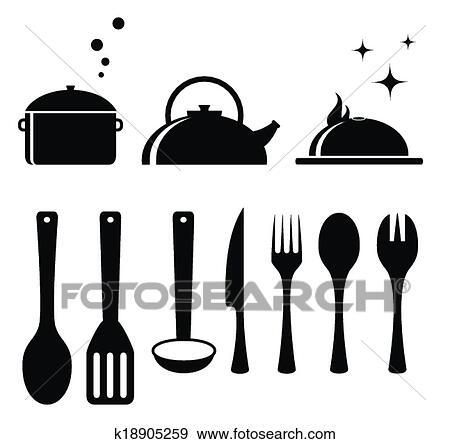 Clip art conjunto herramientas para cocina k18905259 for Murales per cucina
