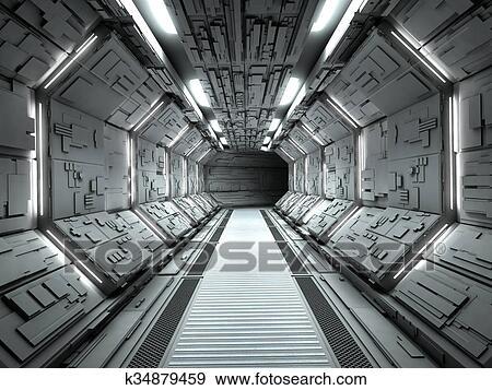 Colecci n de ilustraciones futurista nave espacial for Interior nave espacial