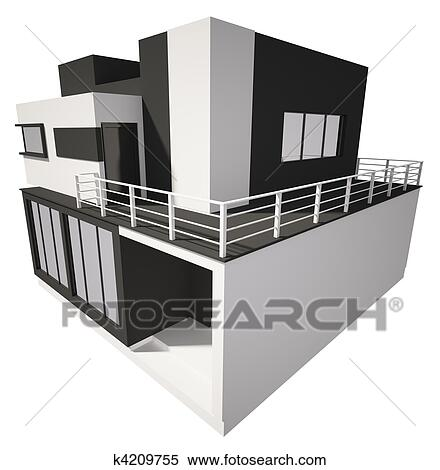 Clip Art of Exterior of modern house k11866992 Search Clipart