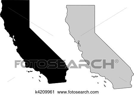 Clipart of California map. Black and white. Mercator projection ...