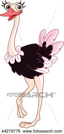 Clip Art Of Ostrich K4219776 Search Clipart