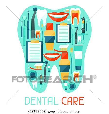 Clip Art Of Medical Background Design With Dental Equipment Icons