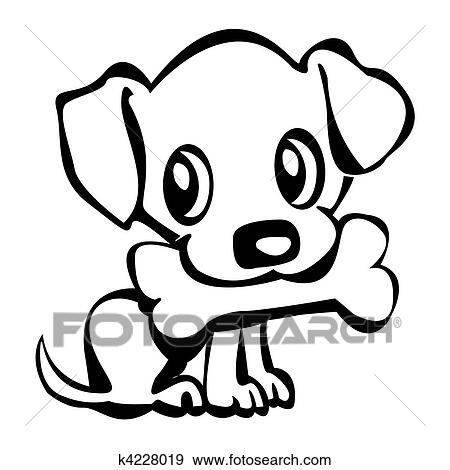 stock illustration of puppy with bone k4228019 search vector rh fotosearch com puppy vector sprites free puppy vector free download