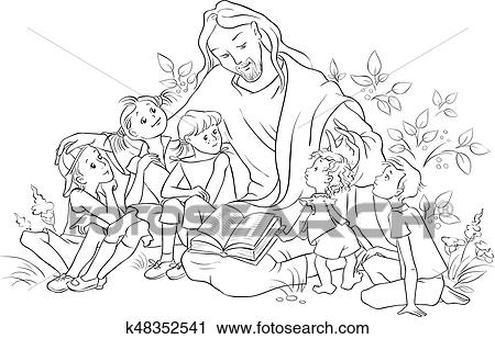 Clipart of Jesus reading the Bible to children Coloring page ...