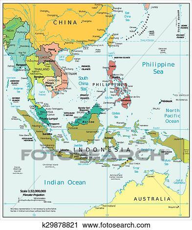 地囹kΈ�_剪贴画 - 东南亚, 政治, 地图 k29878821 - 搜寻边框