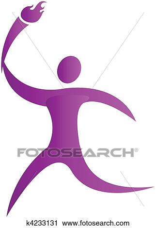 Clipart of human running with the olympic torch in hand k4233131 ...