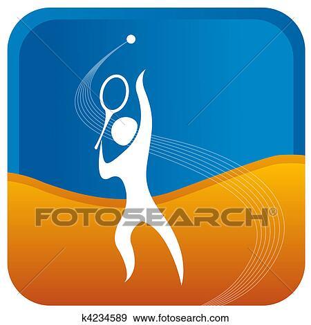 写真素材・動画素材・イラスト素材イラスト - 人間, 準備, 勤めるために, 中に, テニスの ゲーム