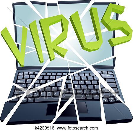 Clip Art of Computer virus breaks security to crash Laptop pieces ...
