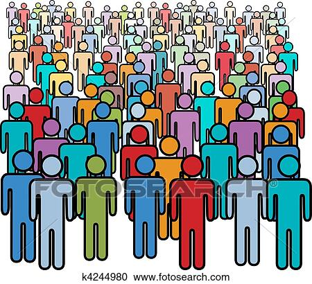 clipart of big crowd of many colors social people group k4244980 rh fotosearch com Small Group of People Clip Art Small Group of People Clip Art