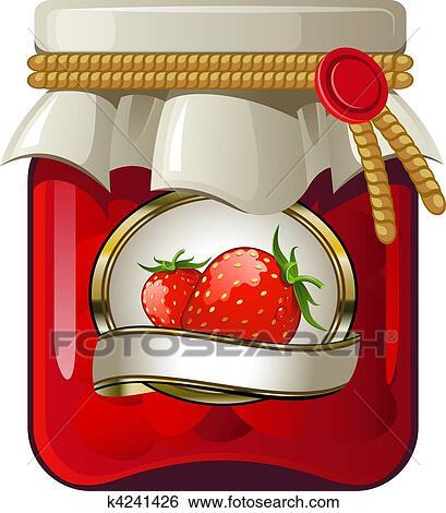 clip art of jar of strawberry jam k4241426 search