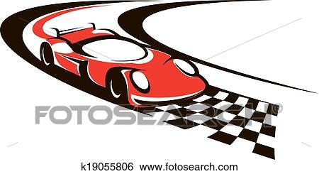 Clip Art of Speeding racing car crossing the finish line k19055806 ...