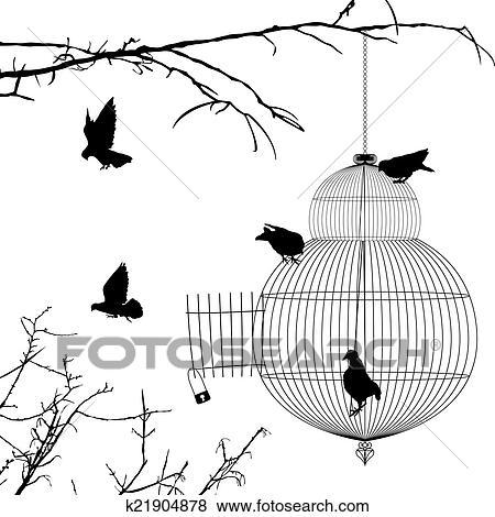 Open Birdcage Silhouette Clip Art of Ope...