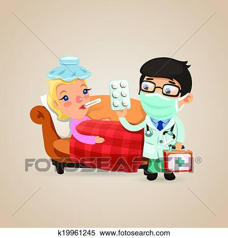 Clipart of Doctor Visits a Sick Woman k19961245 - Search ...