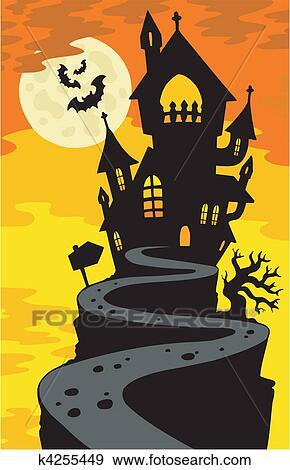 Clipart maison hant e silhouette sur colline k4255449 recherchez des cliparts des - Dessin de maison hantee ...