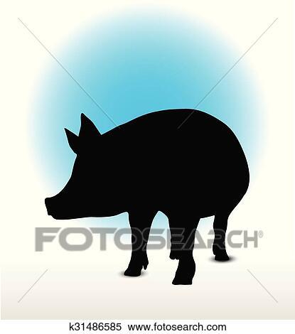 Clipart cochon silhouette k31486585 recherchez des - Dessin cochon debout ...