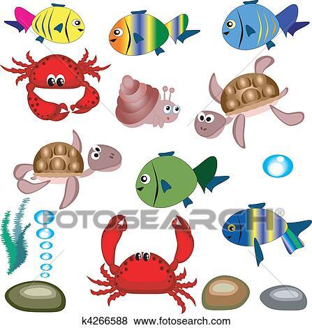 Clip art mare animals k4266588 cerca clipart poster - Clip art animali marini ...
