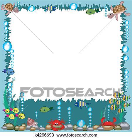Clipart mare cornice k4266593 cerca clipart - Clip art animali marini ...