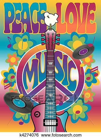 Clipart peace love music k4274076 recherchez des cliparts des illustrations des dessins et - Dessin peace and love ...