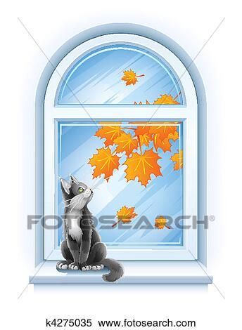 Clipart gattino seduta su davanzale di autunno - Finestra con seduta ...
