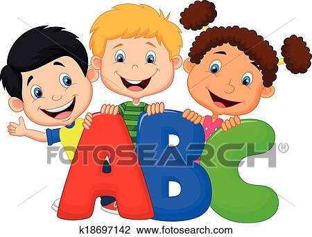 Clipart bambini scuola cartone animato con abc for Scuola clipart