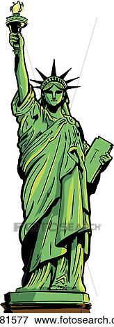 Clip Art of Statue of Liberty full figure k4281577 ...