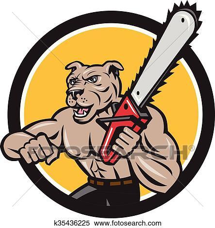 clipart of canine lumberjack tree surgeon arborist chainsaw circle rh fotosearch com