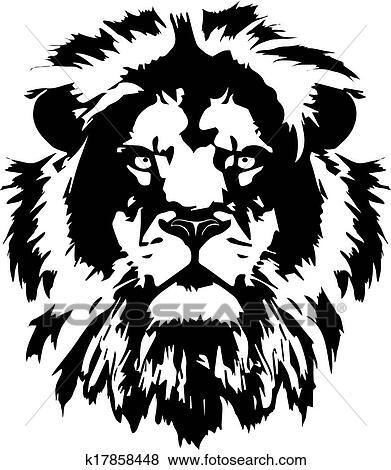 Clipart - lion, tête, noir, tatouage. Fotosearch - Recherchez des ...