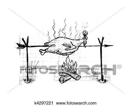 Clipart poulet r ti illustration k4297221 recherchez des clip arts des illustrations des - Dessin de poulet roti ...