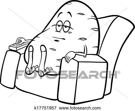 couch clipart black and white. black and white cartoon humor concept illustration of couch potato saying or proverb for coloring book clipart