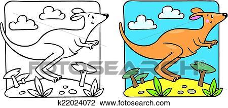 Clipart Of Little Kangaroo Coloring Book K22024072