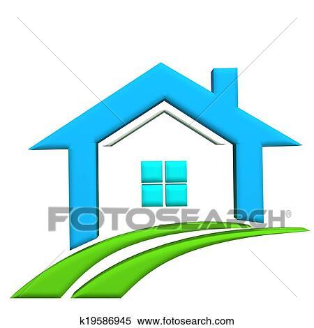 Banque d 39 illustrations immobiliers 3d logo maison for Voir ma maison en 3d