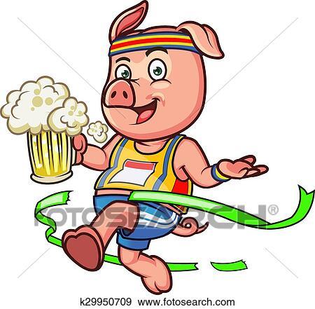 剪贴画 - 马拉松, 猪. fotosearch - 搜寻图样,绘画,制图及影像图片