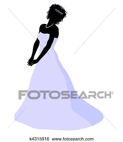 Stock Illustration of African American Wedding Bride Silhouette ...