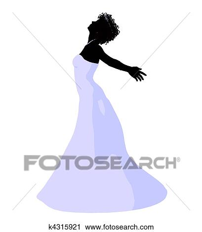 Clipart of African American Wedding Bride Silhouette k4315921 ...