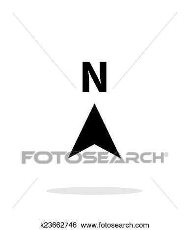 Clip Art Of North Direction Compass Icon On White Background