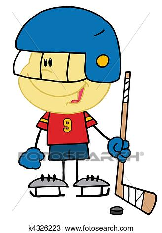 clipart of caucasian boy playing a hockey k4326223 search clip art rh fotosearch com clip art hockey puck on ice clipart hockey sur glace