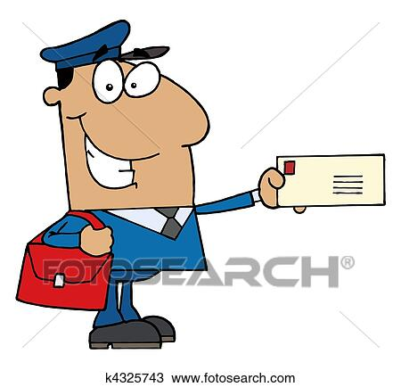 clipart of hispanic mail man holding a letter k4325743 search clip rh fotosearch com mail carrier clipart Mail Carrier Truck Clip Art