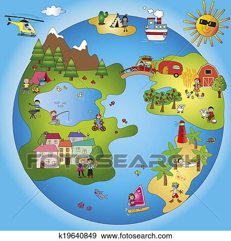 Stock illustration of fantasy world k19640849 search for Environmental graphics giant world map wall mural