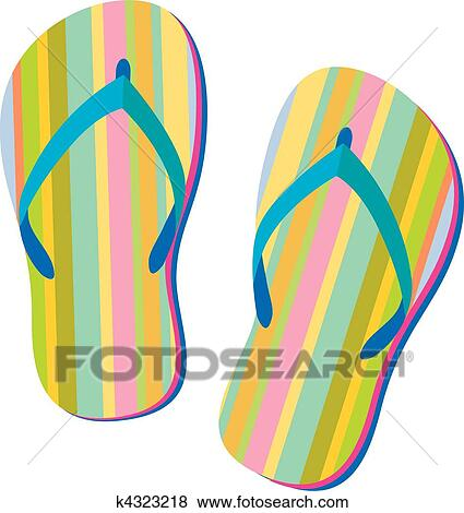 Clip Art of Summer sandals k4323218 - Search Clipart, Illustration Posters, Drawings ...