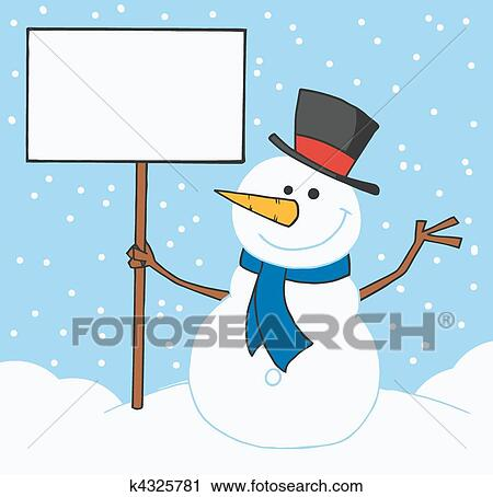 Clipart bonhomme de neige tenue a signe blanc k4325781 recherchez des clip arts des - Clipart bonhomme de neige ...