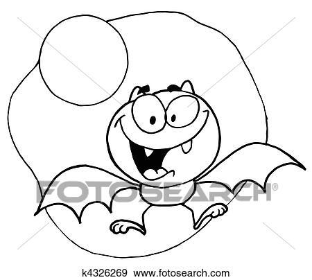 Clip art delineato volare pipistrello e luna - Contorno immagine di pipistrello ...