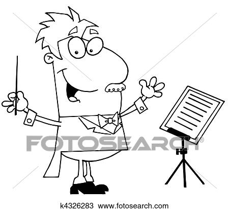 clipart outlined music conductor fotosearch search clip art illustration murals drawings