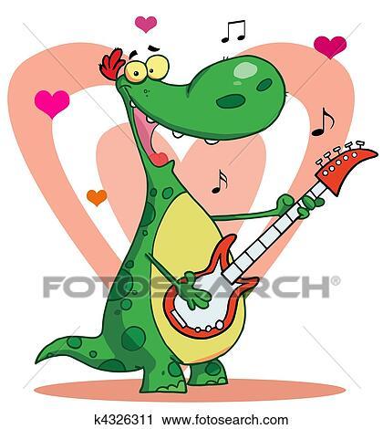 恐龙, 玩, 吉他 放大图形剪辑