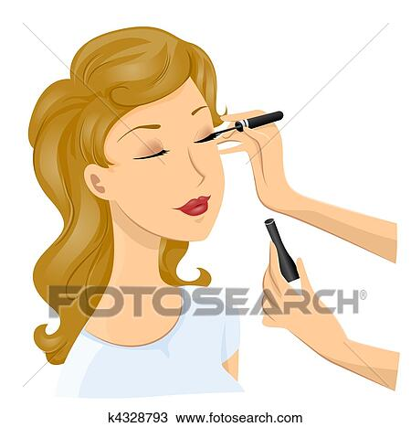 Girl Putting On Makeup Clipart Drawing - Girl Make Up